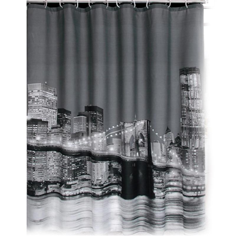 New Pretty City Night View Bathing Waterproof Bathroom Fabric Shower ...