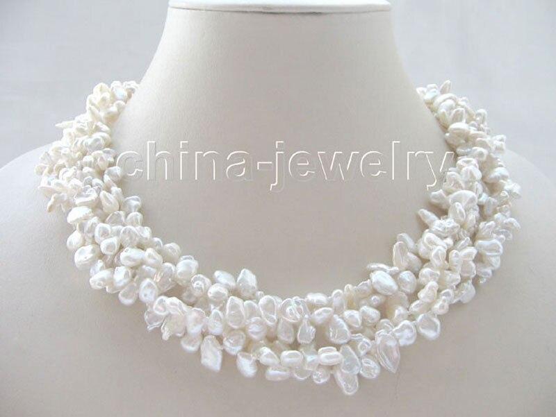 Collier de perles d'eau douce Keshi blanc Reborn 5row de P5265-18
