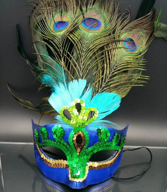 Women Elegant Peacock feather Mask Girls Costume Sexy Prom Party Halloween  Christmas Masquerade Dance Masks Accessories ZA2659