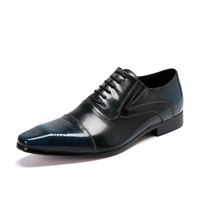 Batzuzhi 2018 Handmade Genuine Leather Men Dress Shoes Lace up Wedding Party Office Blue Formal Oxfords Male Footwear, EU38 46