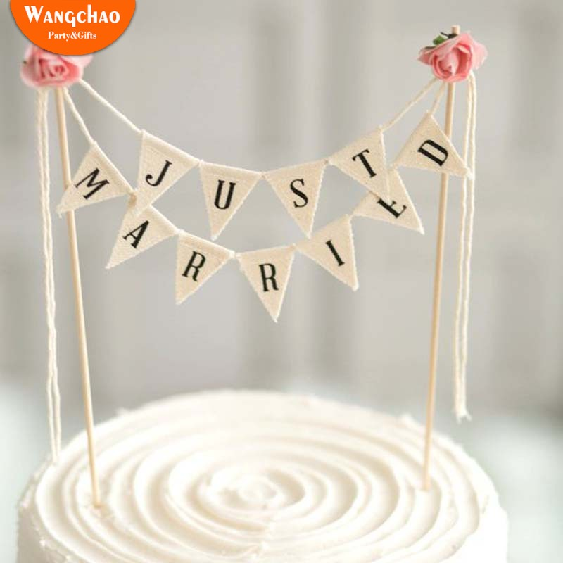 White Just Married Cake Topper married Banner Wedding Decoration Romantic Decorating Party Supplies