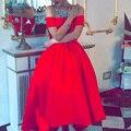 Потрясающие Красная Атласная Пром Платье 2016 С Плеча Бальное платье Арабский Дешевые vestido де formatura Элегантный Привет Ло Вечерние Платья