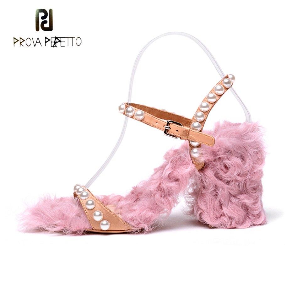 Boucle Ouvert Sandale Talon Carré Fourrure De Femmes Perle Perfetto IgvY7b6fy