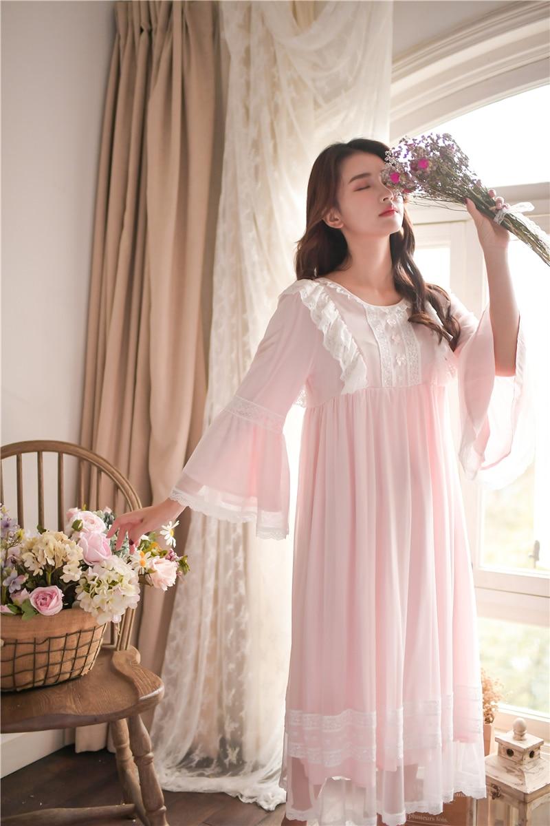 2019 Summer Sweet Lace Cotton Nightgowns For Women Aesthetic Elegant Princess Night Dress Guaze Sleeveless Nighty