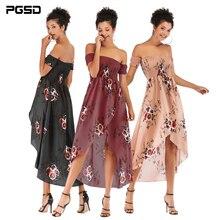 PGSD Spring summer Fashion women clothes sexy boat neck strapless Flower printed Elastic waist Bifurcated chiffon dress female