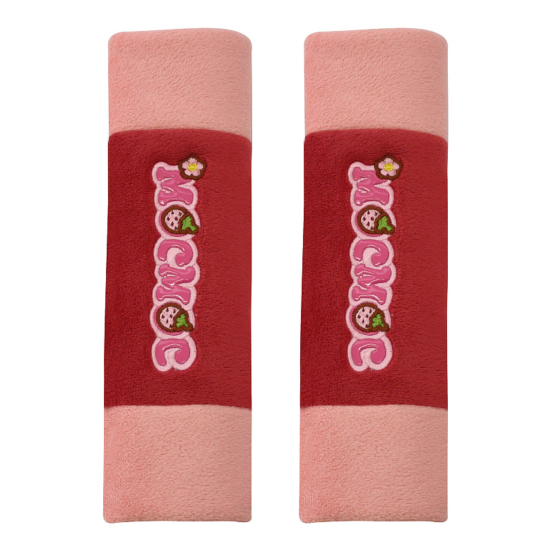 2 Pieces Red Soft Safety Belt Cover Pad Embroidery Soft Short Plush Shoulder Padding Neck Protector 23*6CM for Lada for Granta
