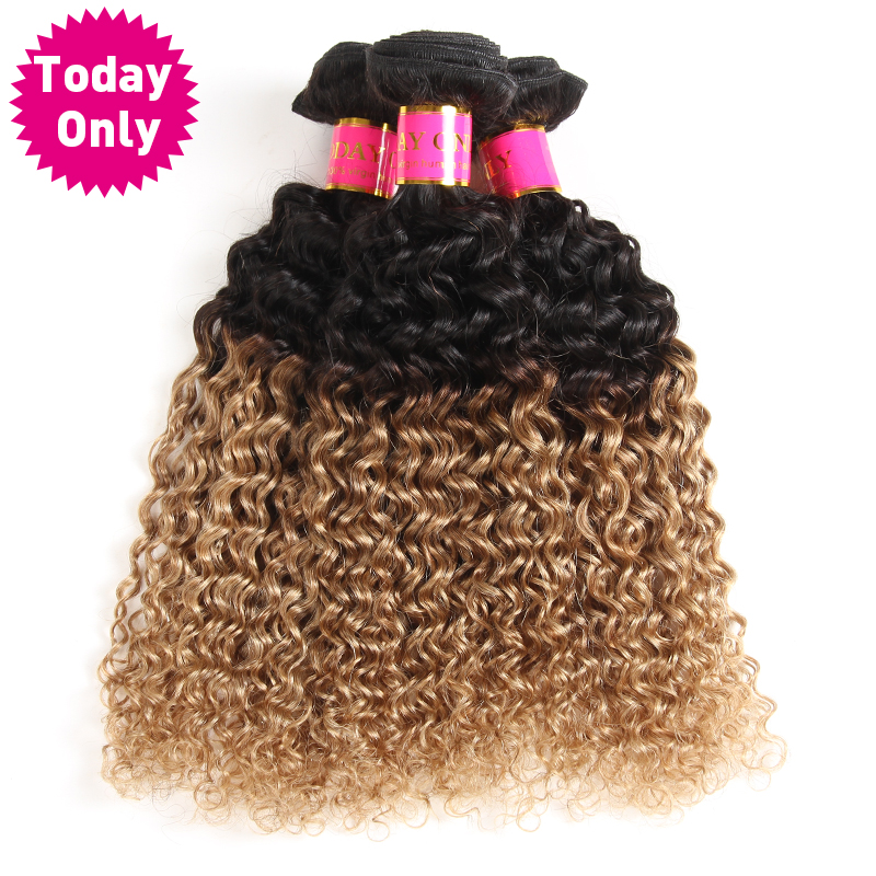 Today Only Ombre Brazilian Hair Weave Bundles Kinky Curly Weave Human Hair Bundles Two Tone 1b 27 Non Remy Blonde Hair Extension