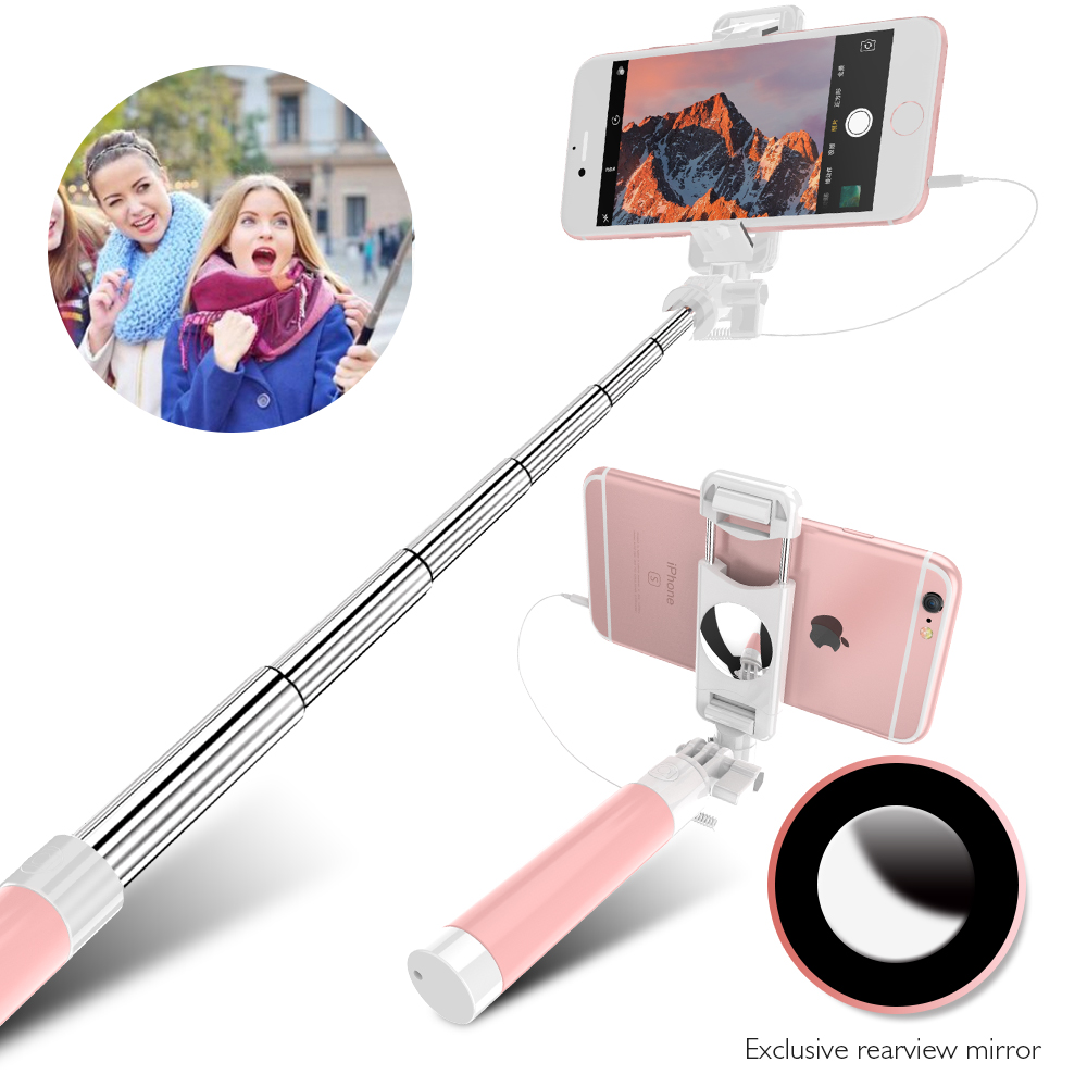 лучшая цена FLOVEME Wired Candy Selfie Stick For iPhone 6 6s Plus 5 5s For Android Cellphone Selfie Sticks Monopod for Samsung S6 s8