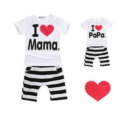 I Love PaPa Mama Newborn Baby Clothes Casual Boy Girls Striped 2pcs Outfits Set