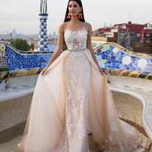 HIRE LNYER Detachable Train Wedding Dresses 2019