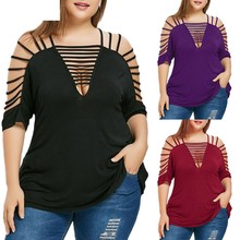 JAYCOSIN 2019 Mulheres Da Moda Plus Size Oco Out V-Neck Cut Out Strappy Tops T-Shirt 19MAR7(China)