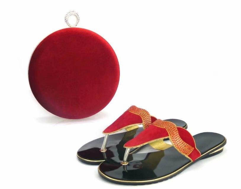 Belle Africain Rouge La Sandales red Femmes Robe Tys17 Pour Main Black Rond Noir Sac Strass Talon Chaussures À Faible Avec Et Set rr8qTwEd