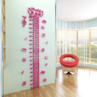 Children Height wall sticker wall Rule Piano music note 3d Three dimensional Acrylic wall stickers for kids rooms wall art decor
