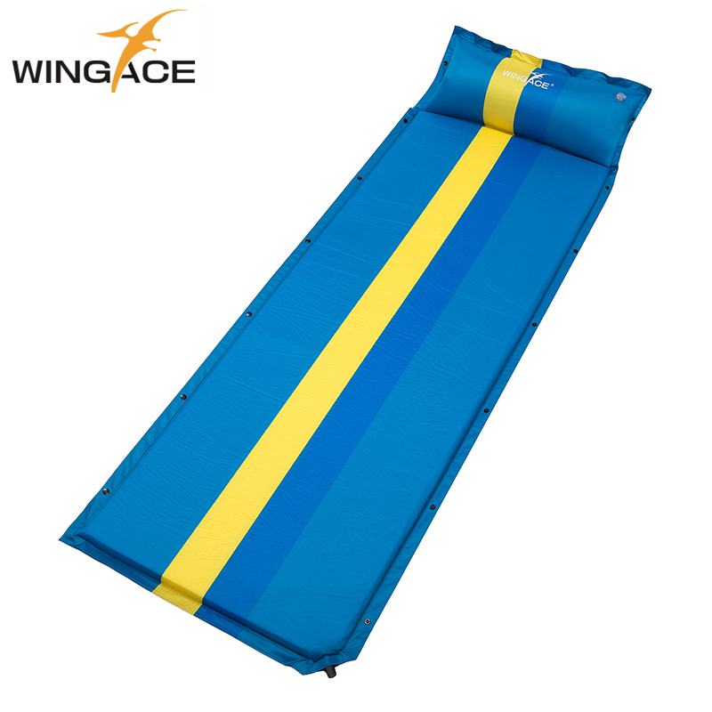 195*66*3CM Inflatable Mattress Pad With Pillow Tent Folding Bed Sleeping Mat Air Mattress Tourist Camp Bed Outdoor Camping Mat