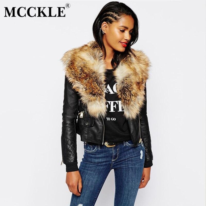 Women Faux Fur PU Leather Short Jacket Motor Black 2019 Autumn Winter Coat Outwear Female Fluffy Collar Casual Jackets Plus Size