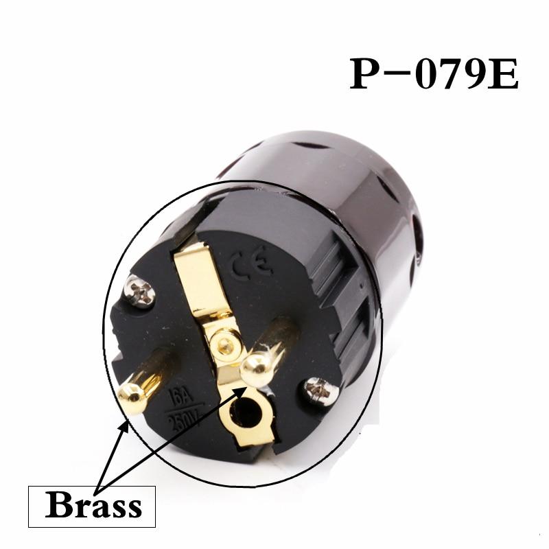 5pcs Hifi audio plug Connector  Brass 24k Gold Plated  P-079E  Schuko Eu plugs extension adapter серова м горячее дельце