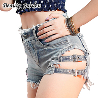 Beauty Garden Fashion Solid Summer Denim Shorts Sexy Mini Length Hollow Out Jeans For Women Club Leisure Straight Shorts