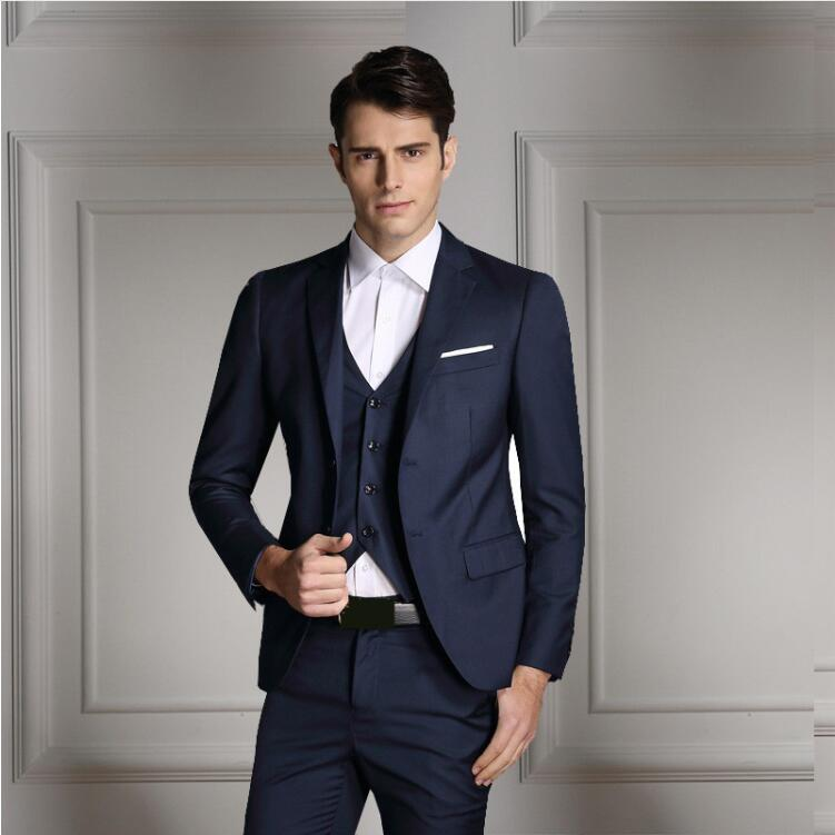Rand Men Fashion Three Piece Set Business Casual Slim Fit Suits Black Gray Royal Blue Navy Groom Wedding Suits For Men Tuxedo