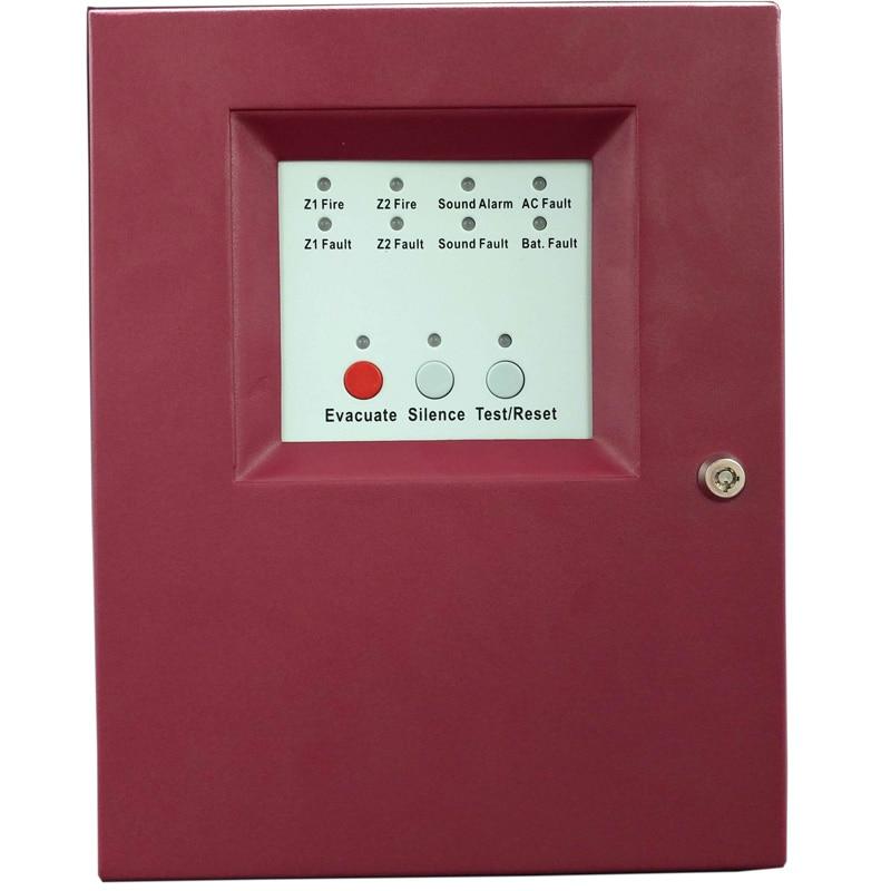2 Zones Fire Alarm Control Panel MINI Fire Alarm Control System Conventional Fire  Control Panel Salve Panel