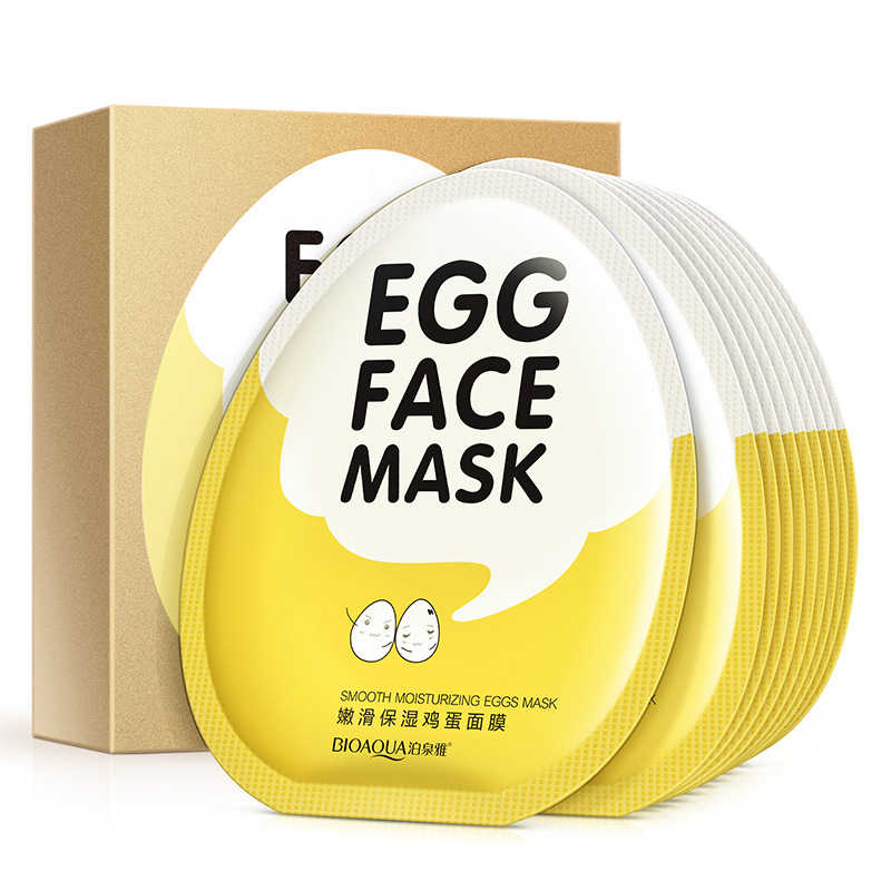 BIOAQUA 10pcs Egg Facial Masks Tender Moisturizing Nutritions Face Mask Oil Control Brighten Wrapped Mask Skin Care Box Set