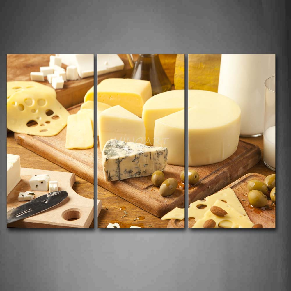 3 Piece Wall Art Painting Cheeses And font b Knife b font With Board Picture Print