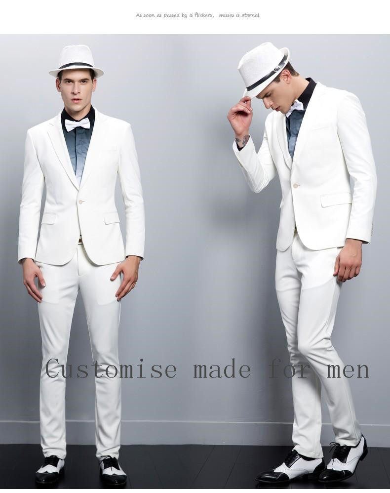 2017 Handsome High Quality Skinny Mens Blazer White Slim Fit Groom ...