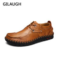 Handmade Sewing Series Natural Leather Men Casual Shoes Flats Style Men Shoes Zapatos