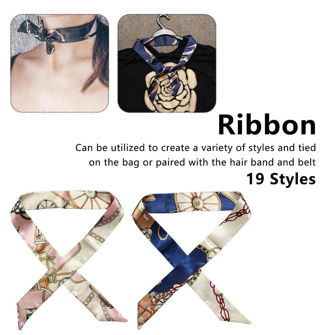 1PC nouvelle soie petites femmes mode écharpe cheveux sacs poignée décoration cravate multi-fonction main ruban écharpe