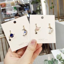 Women Cartoon Astronaut Planet Cute Anti-allergy Drop Dangle Earrings Korea Handmade Fashion Jewelry Gift Holiday-JQD5
