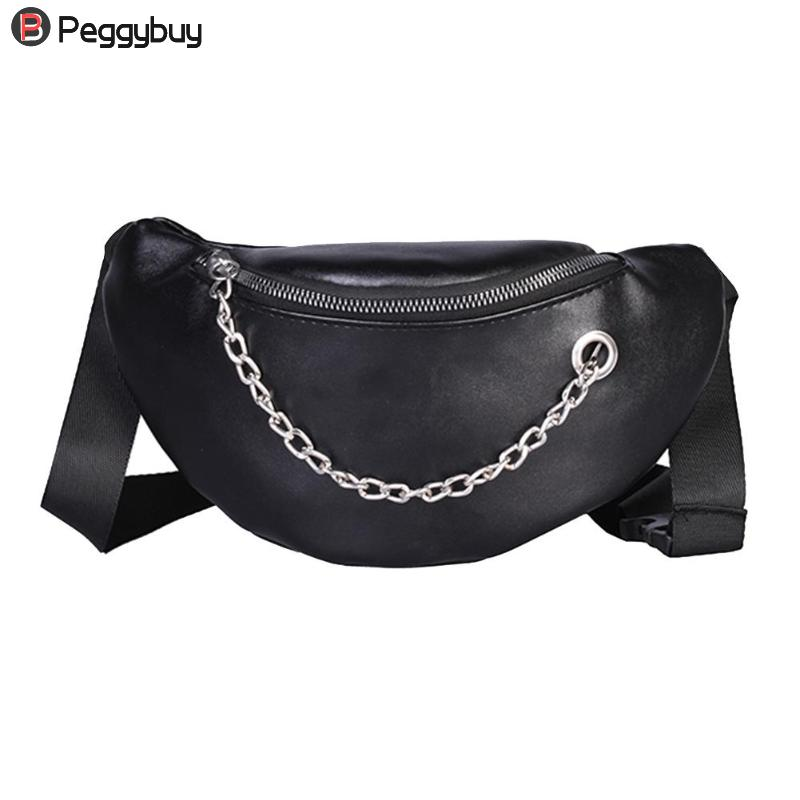 Fashion Women PU Leather Chain Hobos Shoulder Bag Waist Fanny Chest Packs Girls Phone Coins Street Style Solid Waist Bags