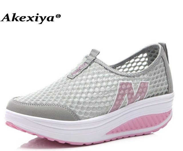 Akexiya 2018 Women Running Shoes Slimming Platform Wedge Sneakers Girls Mesh  Weaving Breathable Fitness Lady Shoes