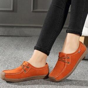 Image 2 - Kadın Flats hakiki deri makosenler dantel Up katlanır Moccasins katlanabilir rahat ayakkabılar bayanlar kare ayak kadın Zapatos Mujer
