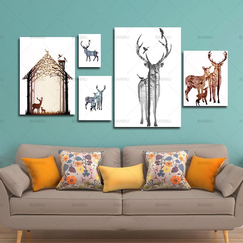 Çam meşəsi kətanları ilə maral ailəsinin silueti, - Ev dekoru - Fotoqrafiya 2