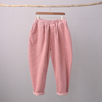 Solid Corduroy Pants Women Loose Casual Elastic waist Harem Pants Vintage Pink Women Cotton Corduroy Harem Trousers C151