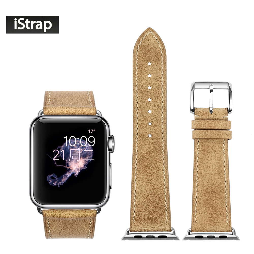 iStrap 42mm Leather Watch Band For Apple Watch Series 1 and 2 Silver Buckle Adapter Replacement Strap For iWatch Sport Edition istrap 22mm handmade genuine calf leather padded replacement watch band for men black 22