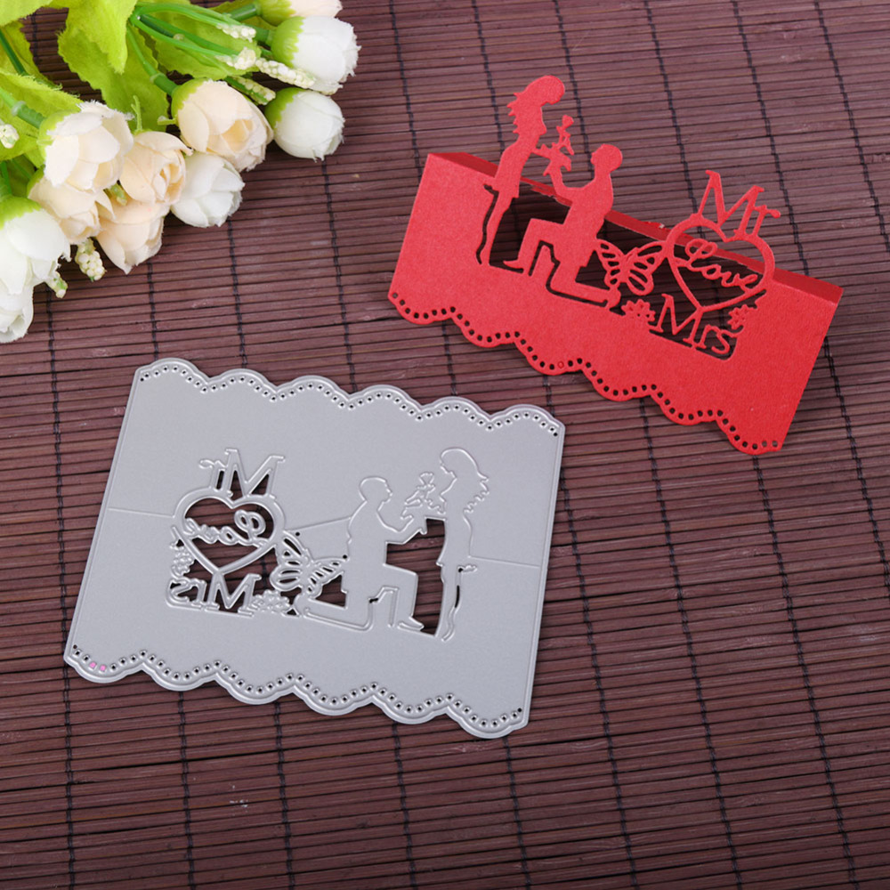Love Couple Wedding Invitation Card Metal Cutting Dies Stencil DIY ...
