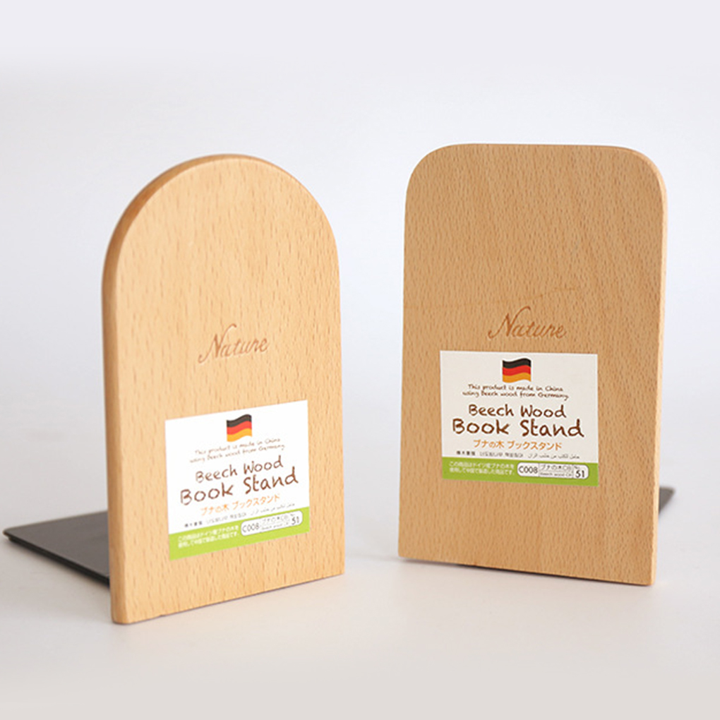 Brand new Anti skid Bookends Book Ends Shelf Holder Nature Wood Book Stand|Bookends| |  - title=