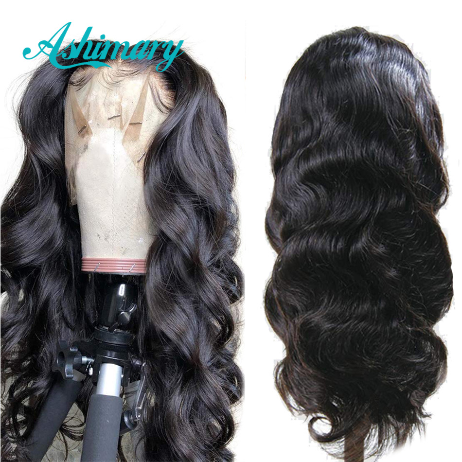 Ashimary Human-Hair-Wigs Lace-Front Wig Remy Body-Wave Pre-Plucked Black-Women Brazilian