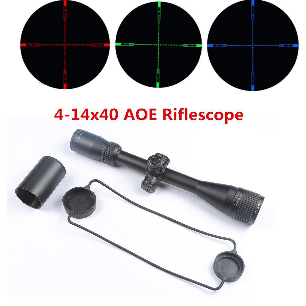 Tactical Riflescope 4-14X40AOE Red Green Blue Dot Illuminated Cross Reticle Optical Airsoft Sight For Hunting Rifle Scope Airgun mossy oka dc 3 9x32 aome hunting scope tactical optical riflescope red and green dot illuminated cross reticle sight for rifle