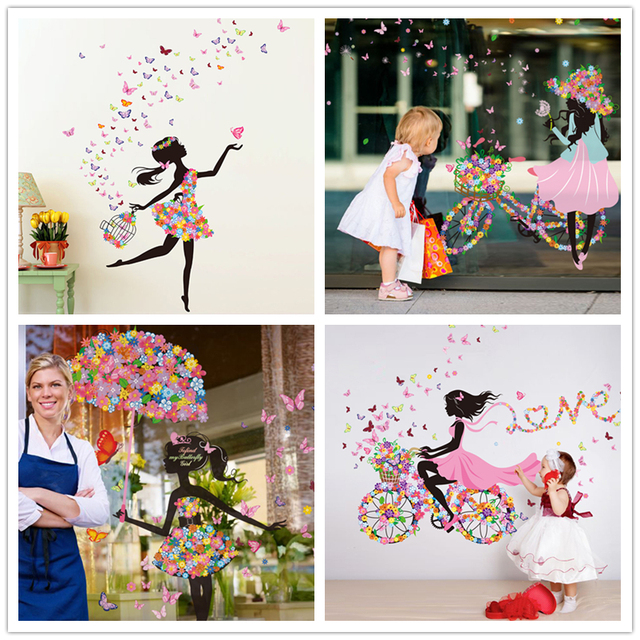 [SHIJUEHEZI] Flower Fairy Girl Wall Stickers Vinyl DIY Butterflies Mural Art for Kids Rooms Kindergarten Decoration Child Gift