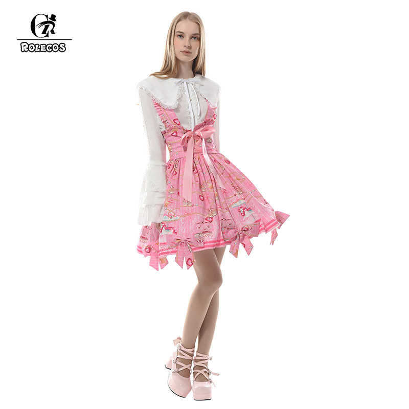 ROLECOS New Arrival Women Lolita Dress Pink Strap Dress Lolita Skirt Sweet Fairy Tale Skirt Women Dress Suspender Skirt