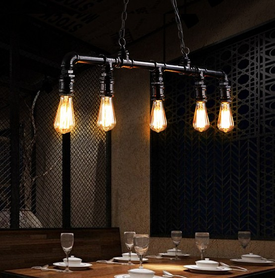 Iwhd Water Pipe Retro Vintage Ceiling Light Fixtures: IWHD Loft Style Water Pipe Lamp Edison Pendant Light