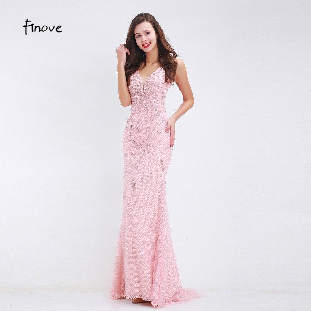 Finove Beading Pink Evening Dresses 2019 Fall New Styles Sexy Big V Neck Floor Length Long