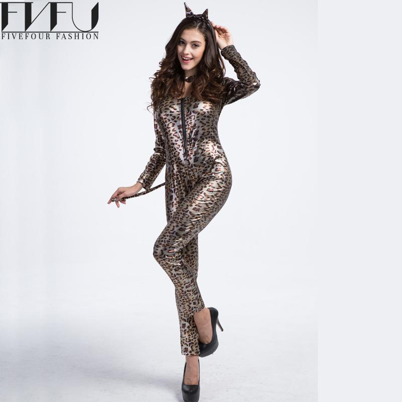 2017 Fashion Halloween Cosplay Costumes Women Leopard Woman Pants With Tail Cosplay Costumes Women Halloween Cosplay