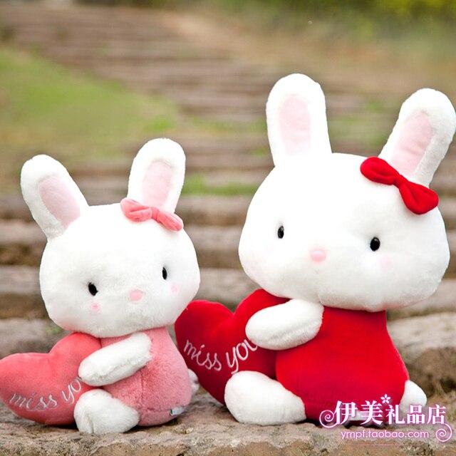 Plush toy blue and white doll rabbit doll birthday gift