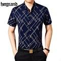 Hee grand 2017 moda rayado geométrico hombres da vuelta-abajo camisa de manga corta camisas casuales masculinas mcs657