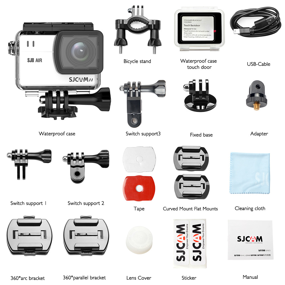 Sjcam Sj8 Air Action Kamera Sport Cam 12mp 2,3 Zoll Touch Screen Objektiv Hd Camcorder Wasserdicht Fall Montage Zubehör Kits Sport & Action-videokameras