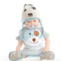 SanyDoll 20 inch 50 cm Silicone baby reborn dolls, lifelike doll Blue dress Lovely doll