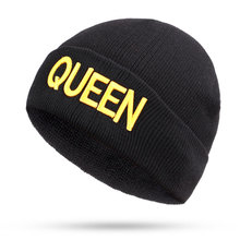 KING QUEEN hat High Quality Beanie Ski Cap Gold letter Tour Skull Stretch Caps Soft Cuff Beanie Knitted Warm winter hats knitted lace up warm beanie