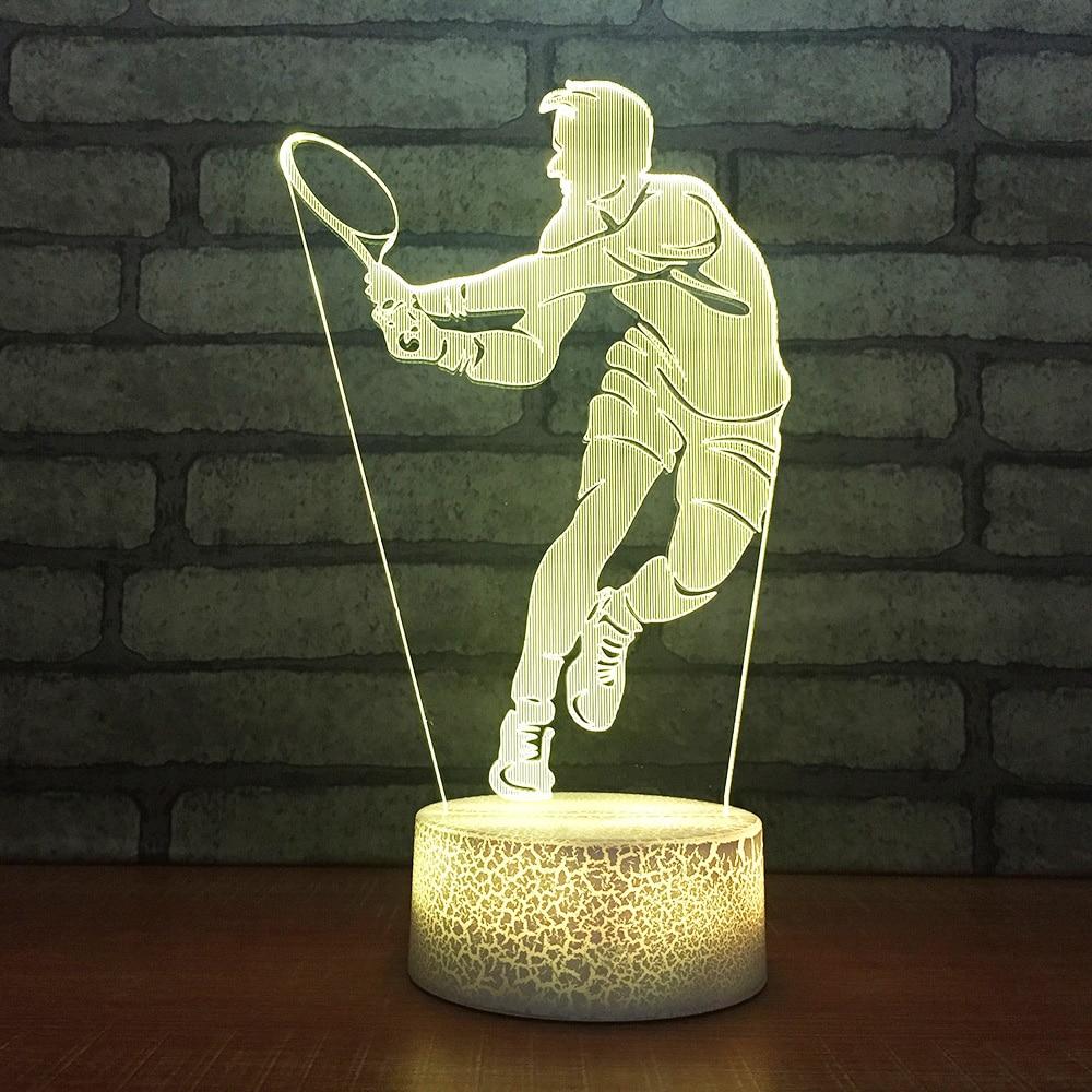 Collectie Hier Nachtkastje Slaap Decoratie Led 3d Usb Visuele Creatieve Nachtlampje Man Spelen Tennis 7 Kleur Tafellamp Sport Verlichtingsarmaturen Gift